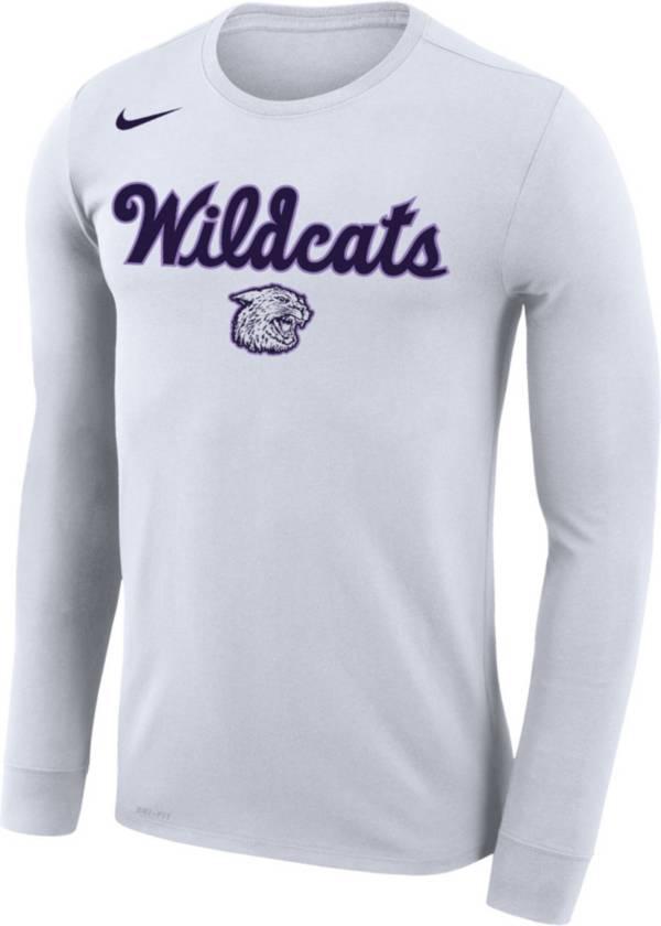 Nike Men's Kansas State Wildcats Dri-FIT Retro Basketball Long Sleeve White T-Shirt product image