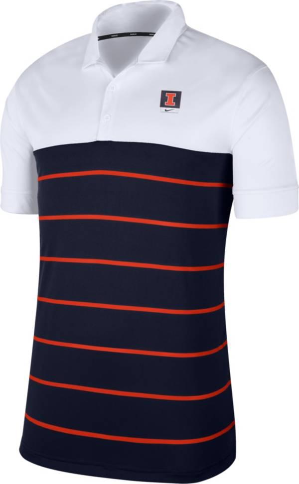 Nike Men's Illinois Fighting Illini White/Blue Striped Polo product image