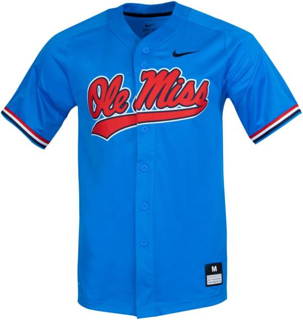 Nike Men's Ole Miss Rebels Blue Full Button Replica Baseball Jersey product image