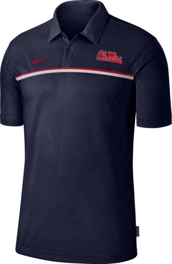 Nike Men's Ole Miss Rebels Blue Dri-FIT Football Sideline Polo product image