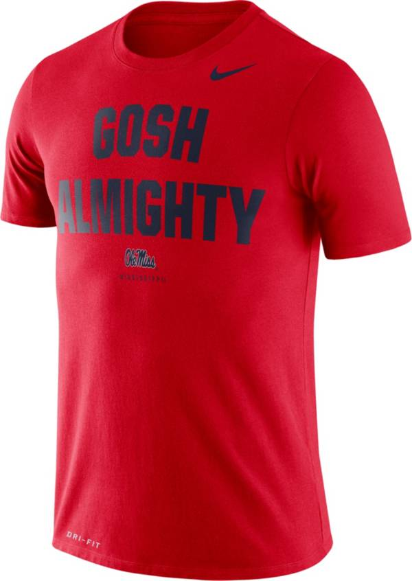 Nike Men's Ole Miss Rebels Red Dri-FIT 'Gosh Almighty' T-Shirt product image