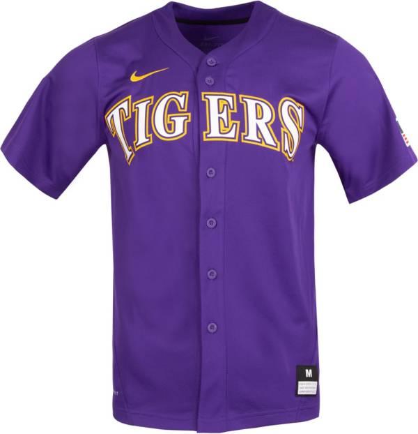 Nike Men's LSU Tigers Purple Full Button Replica Baseball Jersey product image