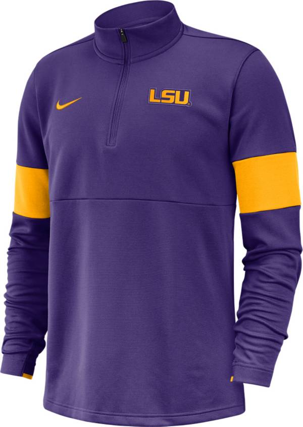 Nike Men's LSU Tigers Purple Coaches Half-Zip Pullover Shirt product image