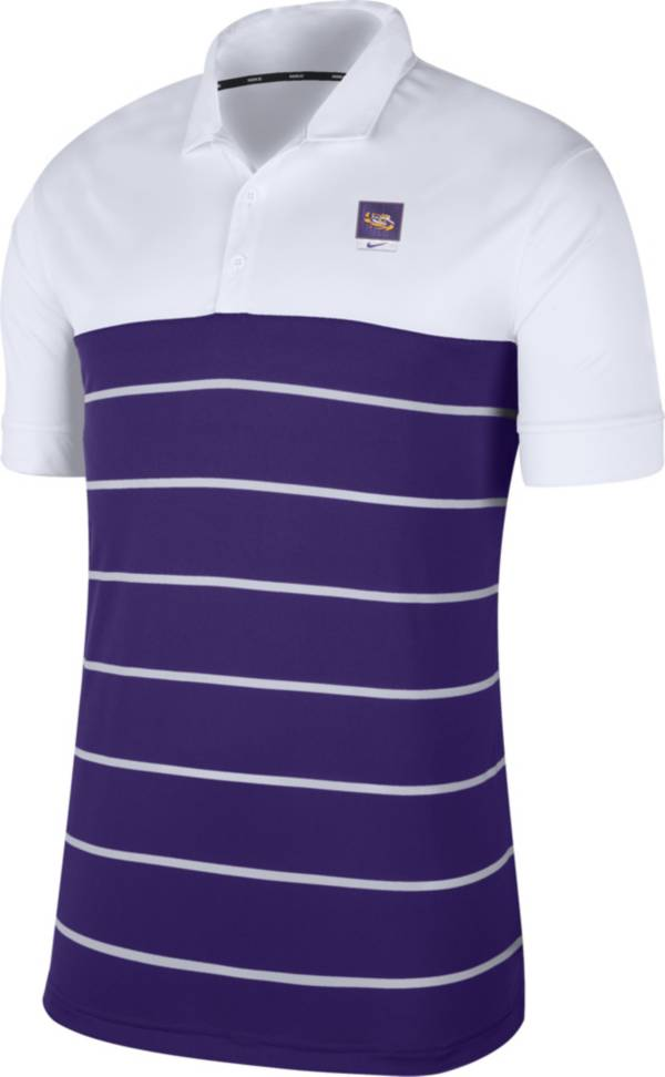 Nike Men's LSU Tigers White/Purple Striped Polo product image