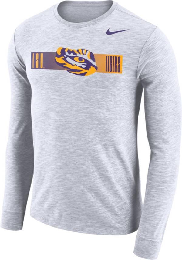 Nike Men's LSU Tigers Dri-FIT Cotton Slub Logo Long Sleeve White T-Shirt product image
