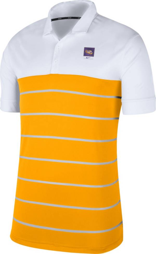 Nike Men's LSU Tigers White/Gold Striped Polo product image