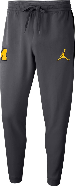 Jordan Men's Michigan Wolverines Grey Dri-FIT Showtime Basketball Fleece Pants product image