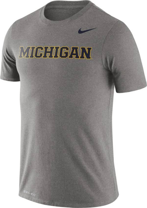 Nike Men's Michigan Wolverines Grey Dri-FIT Legend Word T-Shirt product image