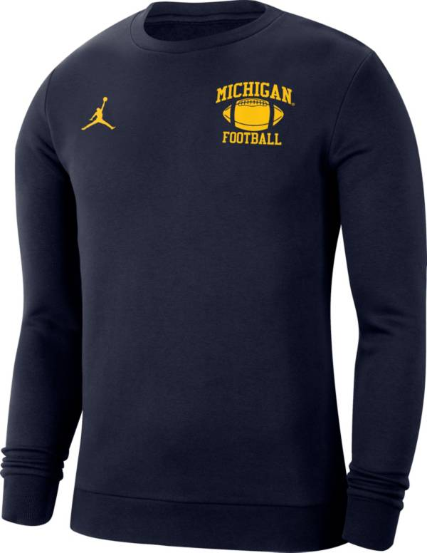 Jordan Men's Michigan Wolverines Blue Retro Football Crew Neck Sweatshirt product image
