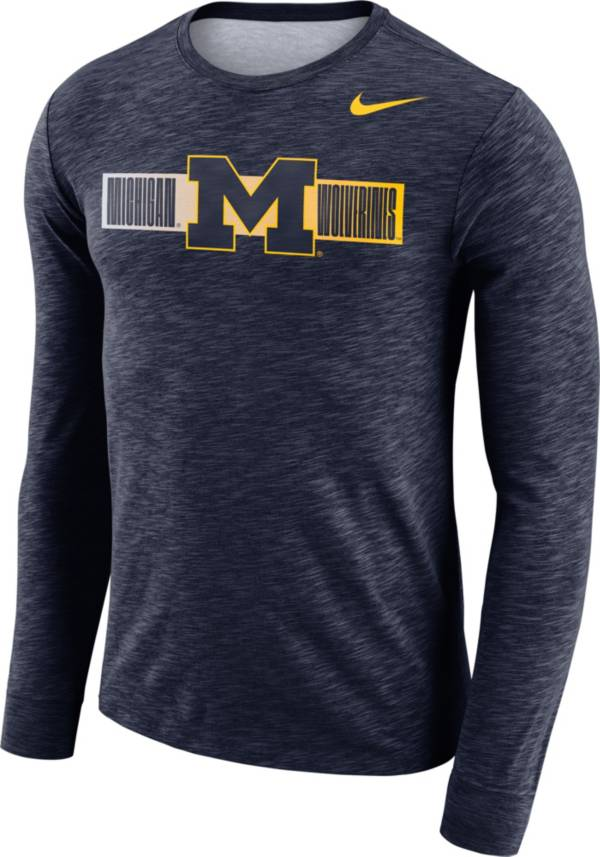Nike Men's Michigan Wolverines Blue Dri-FIT Cotton Slub Logo Long Sleeve T-Shirt product image