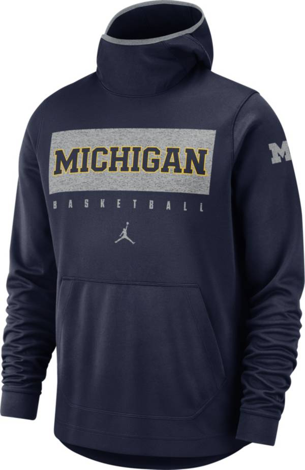 Jordan Men's Michigan Wolverines Blue Spotlight Pullover Basketball Hoodie product image