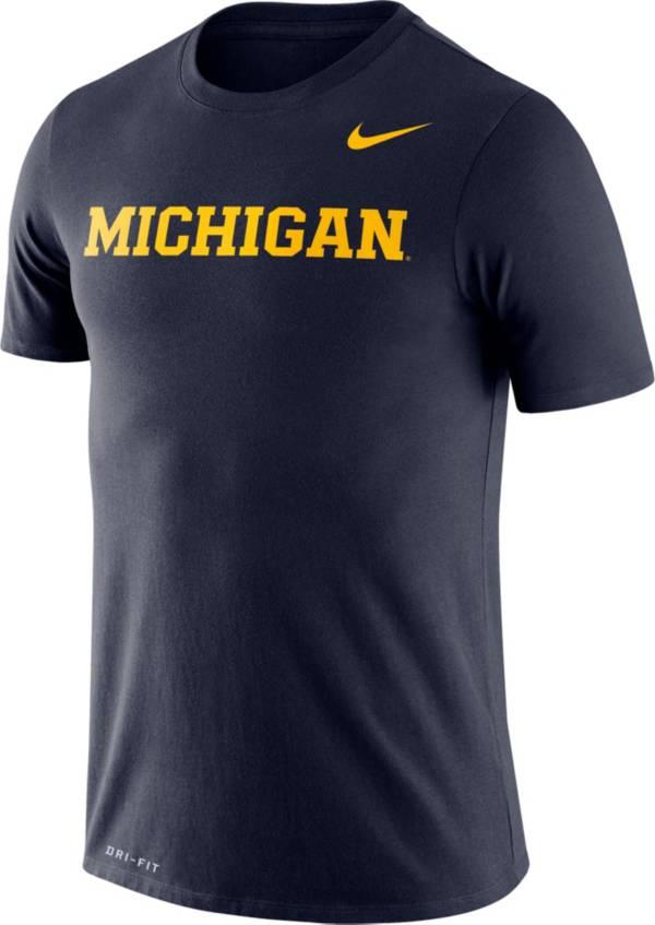 Nike Men's Michigan Wolverines Blue Dri-FIT Legend Word T-Shirt product image