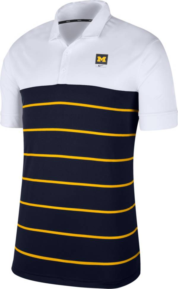 Nike Men's Michigan Wolverines White/Blue Striped Polo product image