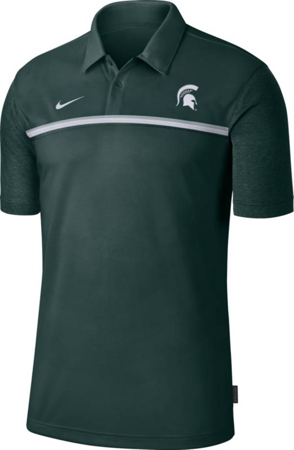 Nike Men's Michigan State Spartans Green Dri-FIT Football Sideline Polo product image