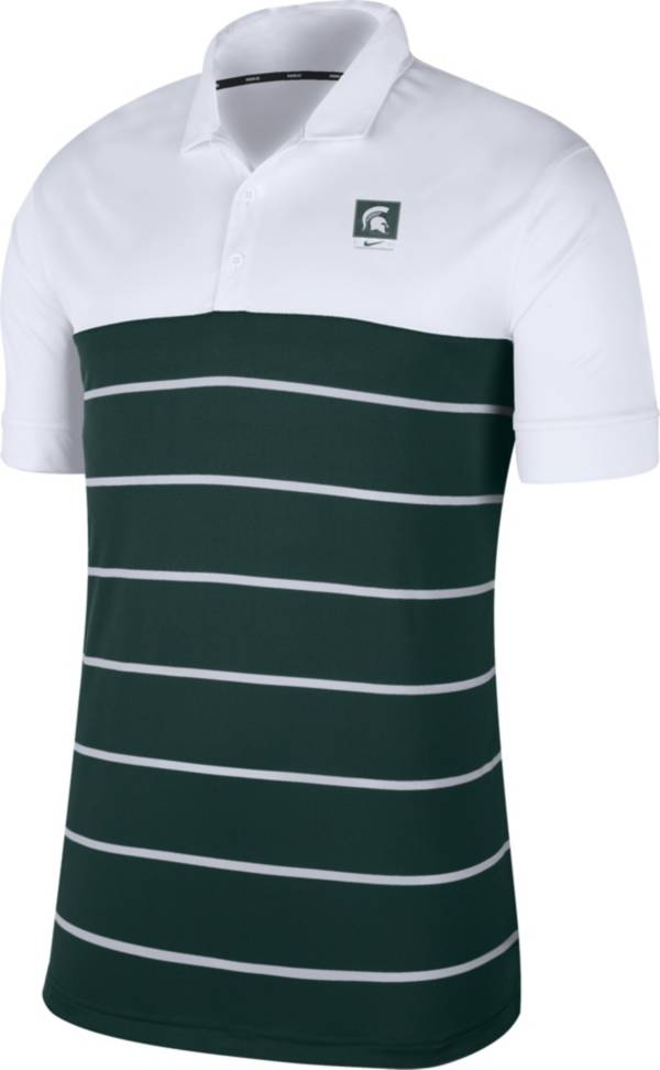 Nike Men's Michigan State Spartans White/Green Striped Polo product image