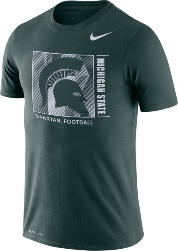 Nike Men's Michigan State Spartans Green Team Issue Logo Football T-Shirt product image