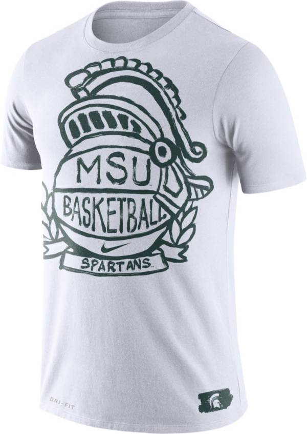 Nike Men's Michigan State Spartans Dry Crest Basketball White T-Shirt product image