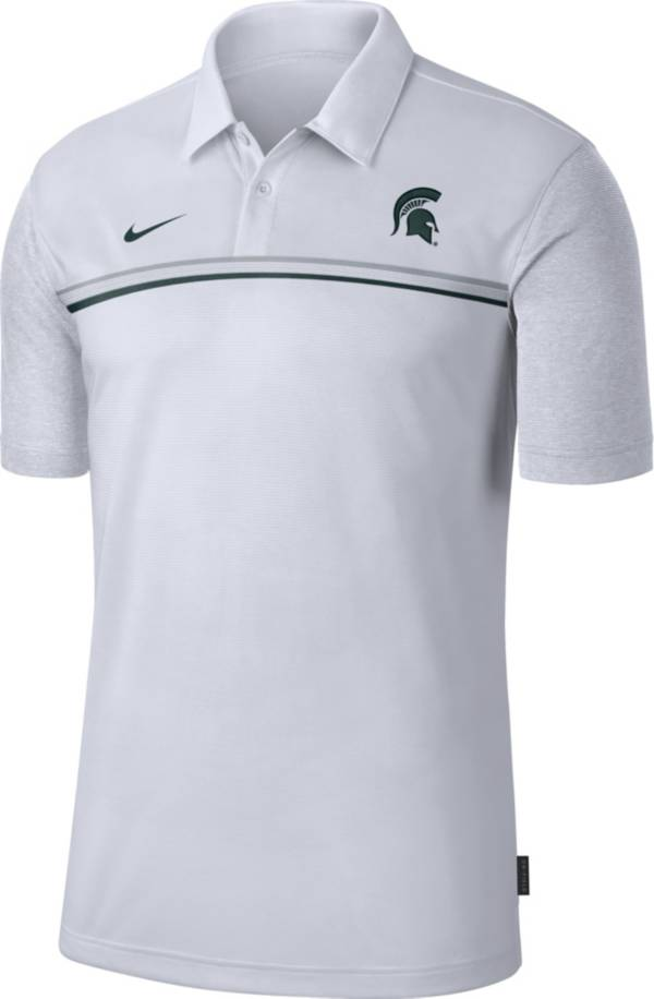 Nike Men's Michigan State Spartans Dri-FIT Football Sideline White Polo product image