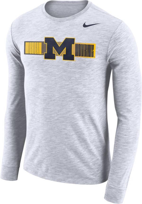 Nike Men's Michigan Wolverines Dri-FIT Cotton Slub Logo Long Sleeve White T-Shirt product image