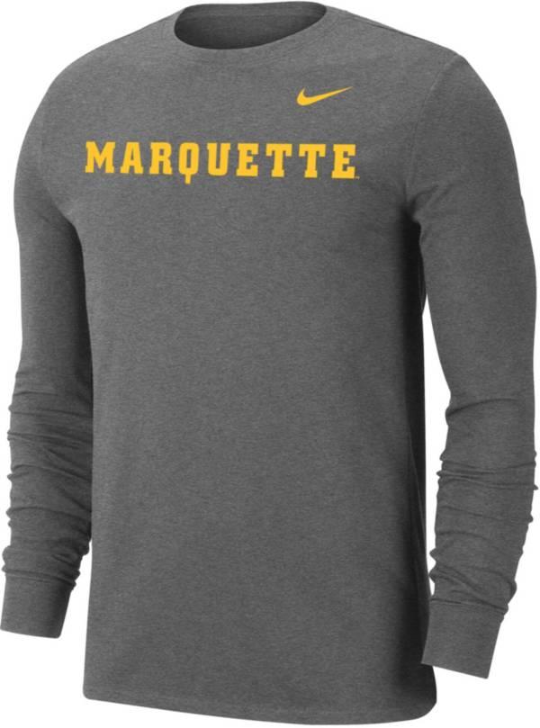 Nike Men's Marquette Golden Eagles Grey Wordmark Long Sleeve T-Shirt product image