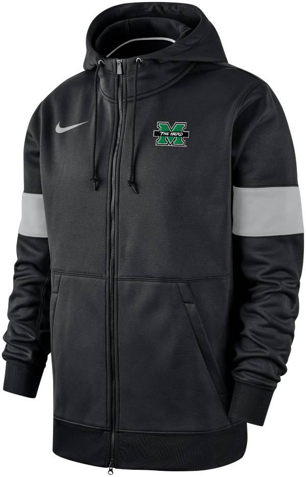 Nike Men's Marshall Thundering Herd Therma Football Sideline Full-Zip Black Hoodie product image