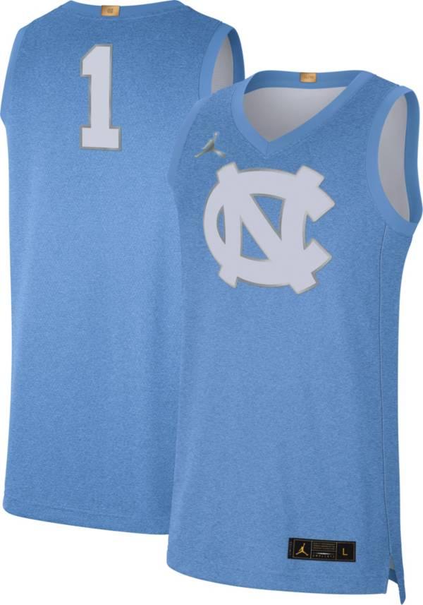 Jordan Men's North Carolina Tar Heels #1 Carolina Blue Limited 100 Year Anniversary Rivalry Basketball Jersey product image