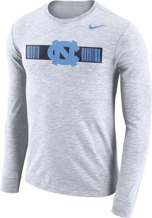 Nike Men's North Carolina Tar Heels Dri-FIT Cotton Slub Logo Long Sleeve White T-Shirt product image