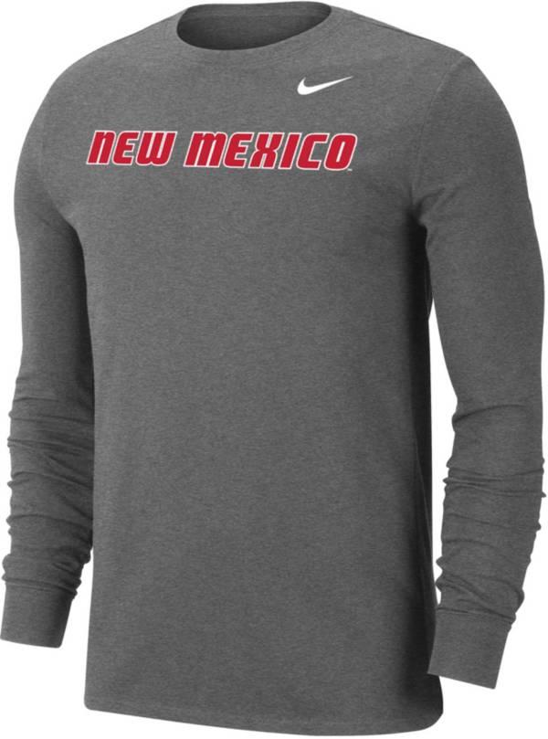 Nike Men's New Mexico Lobos Grey Wordmark Long Sleeve T-Shirt product image