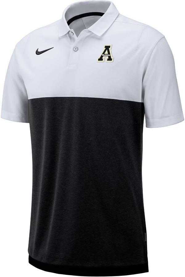 Nike Men's Appalachian State Mountaineers White/Black Dri-FIT Breathe Football Sideline Polo product image