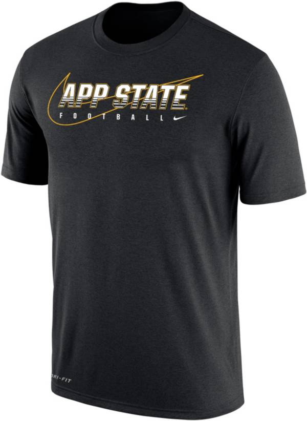 Nike Men's Appalachian State Mountaineers Football Dri-FIT Cotton Facility Black T-Shirt product image