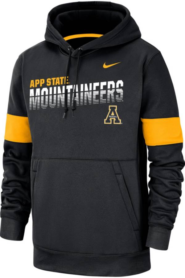Nike Men's Appalachian State Mountaineers Therma Football Sideline Pullover Black Hoodie product image