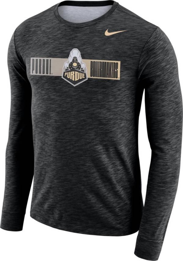 Nike Men's Purdue Boilermakers Dri-FIT Cotton Slub Logo Long Sleeve Black T-Shirt product image