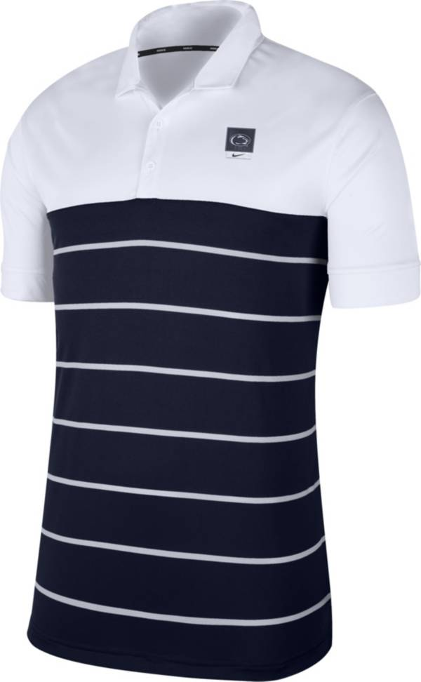 Nike Men's Penn State Nittany Lions White/Blue Striped Polo product image