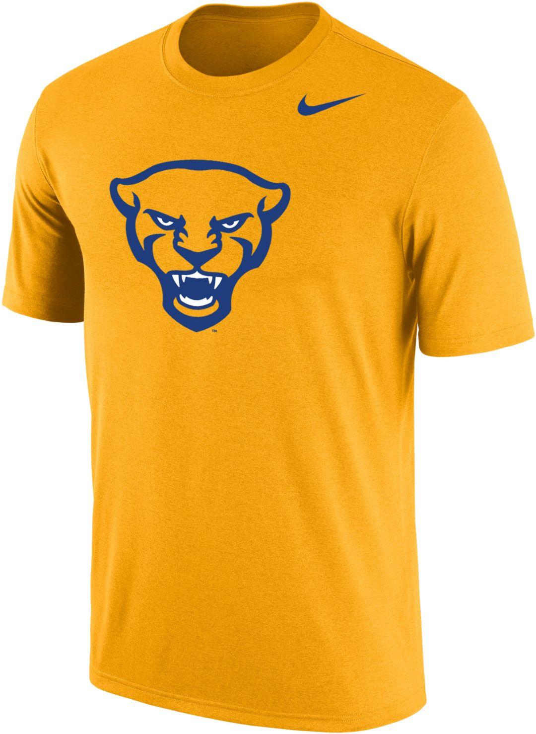 830dad09 Nike Men's Pitt Panthers Gold Panther Head Logo Dri-FIT Cotton T-Shirt.  noImageFound. 1
