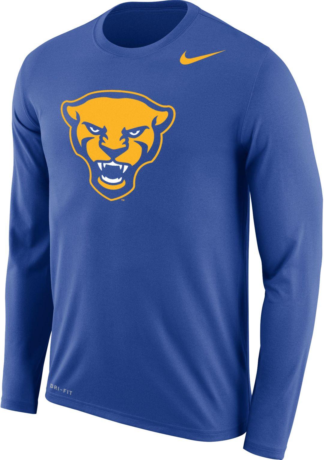 22be6a3c Nike Men's Pitt Panthers Blue Panther Head Logo Dri-FIT Long Sleeve T-Shirt.  noImageFound. 1