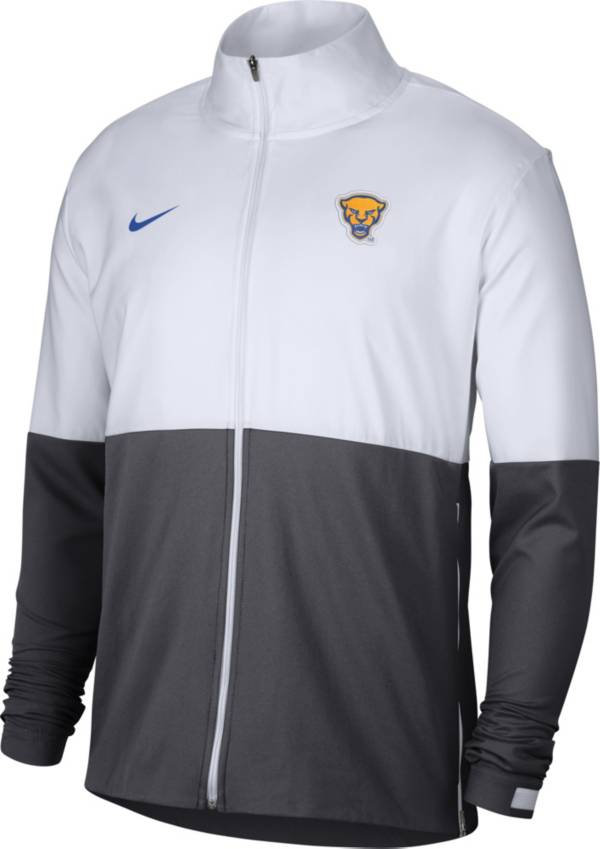 Nike Men's Pitt Panthers White/Grey Football Sideline Full-Zip Jacket product image