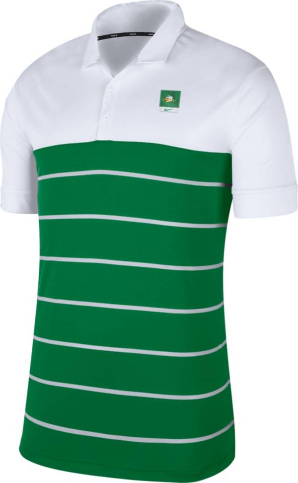 Nike Men's Oregon Ducks White/Green Striped Polo product image
