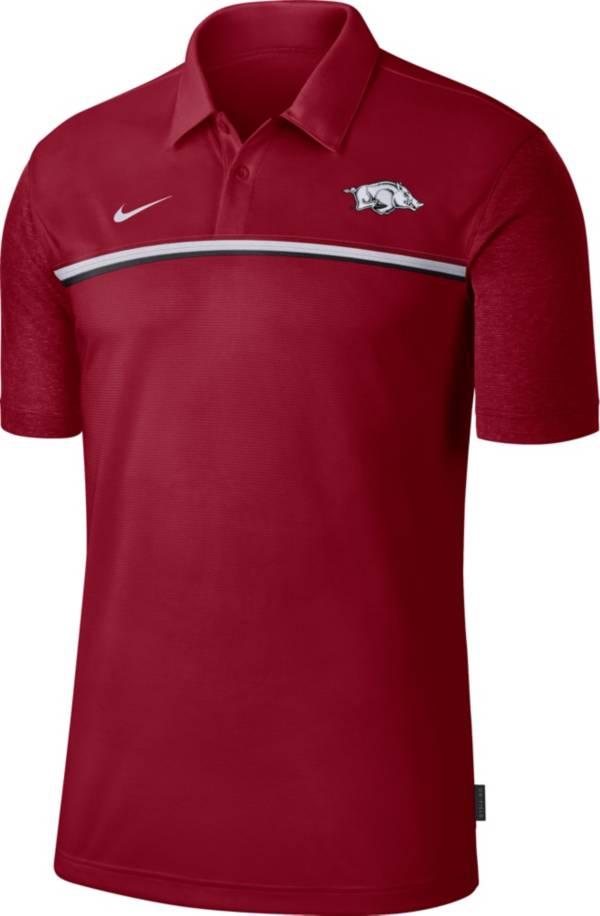 Nike Men's Arkansas Razorbacks Cardinal Dri-FIT Football Sideline Polo product image
