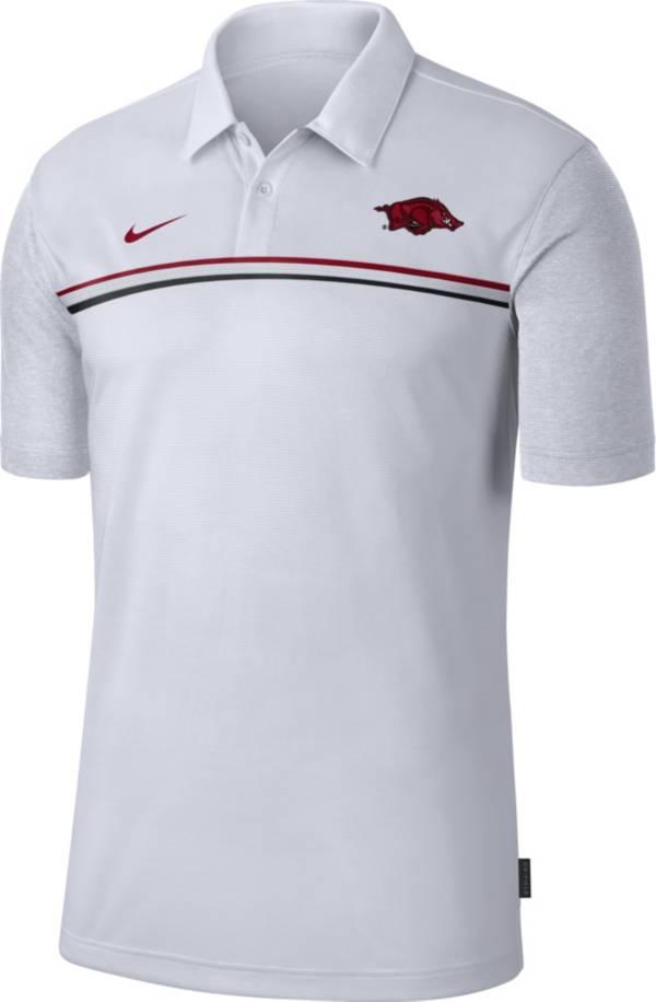 Nike Men's Arkansas Razorbacks Dri-FIT Football Sideline White Polo product image