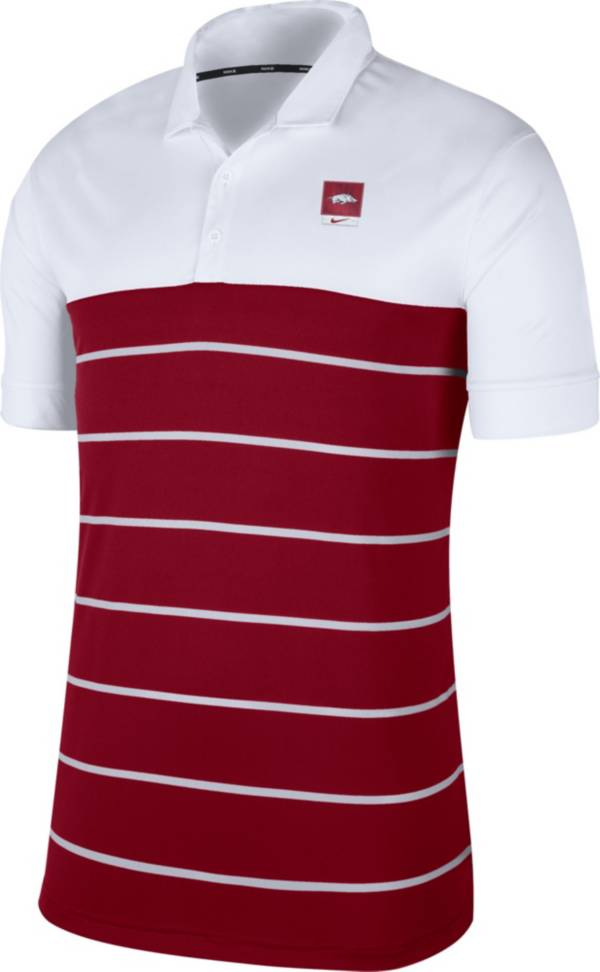 Nike Men's Arkansas Razorbacks White/Cardinal Striped Polo product image