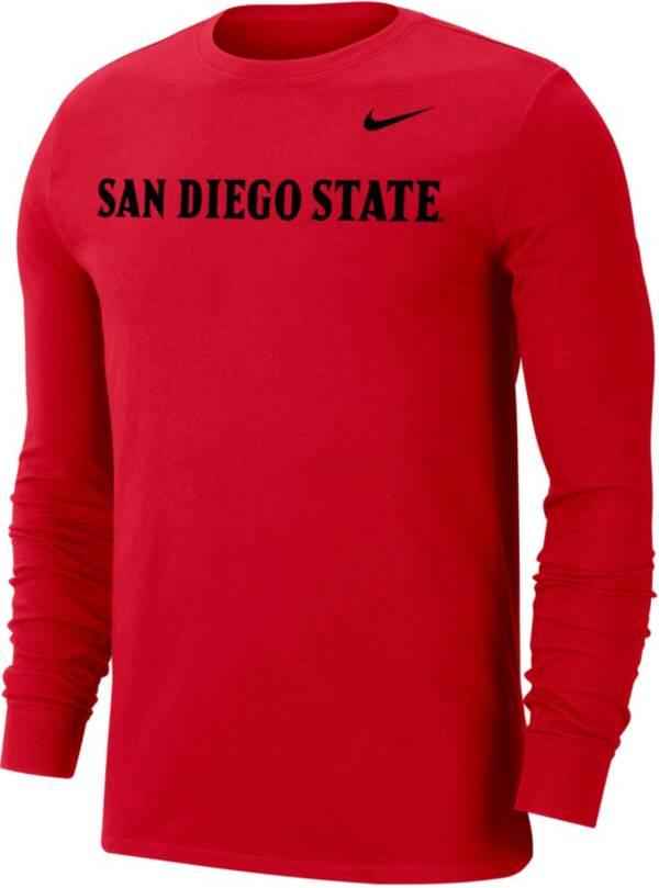 Nike Men's San Diego State Aztecs Scarlet Wordmark Long Sleeve T-Shirt product image