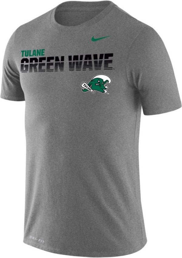 Nike Men's Tulane Green Wave Grey Legend Football Sideline T-Shirt product image