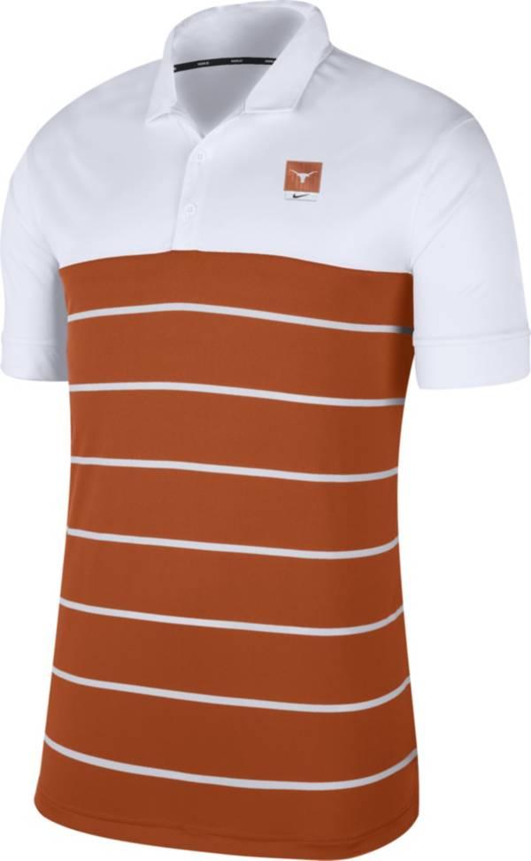 Nike Men's Texas Longhorns White/Burnt Orange Striped Polo product image