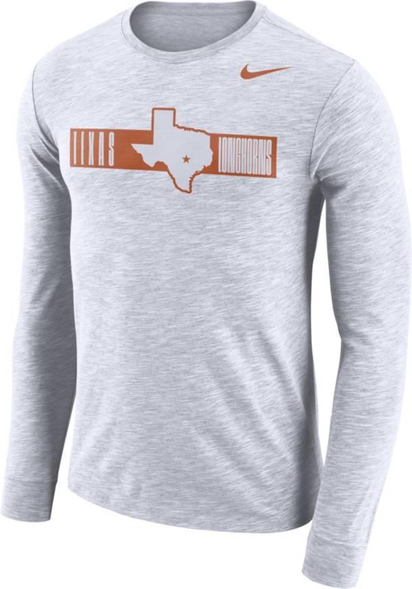 Nike Men's Texas Longhorns Dri-FIT Cotton Slub Logo Long Sleeve White T-Shirt product image