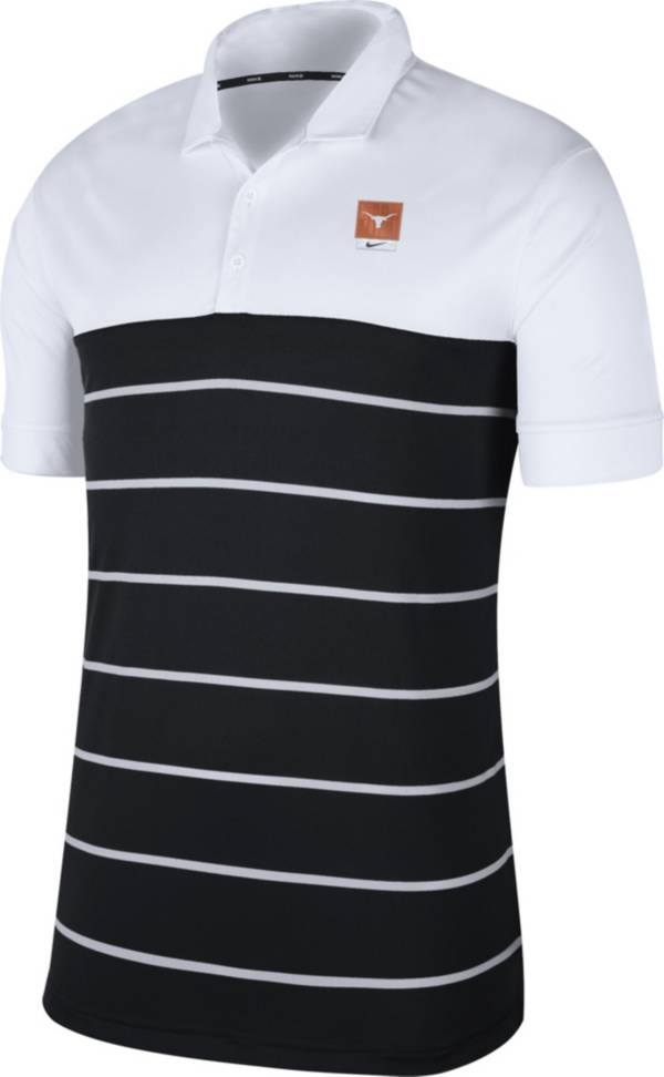 Nike Men's Texas Longhorns White/Black Striped Polo product image