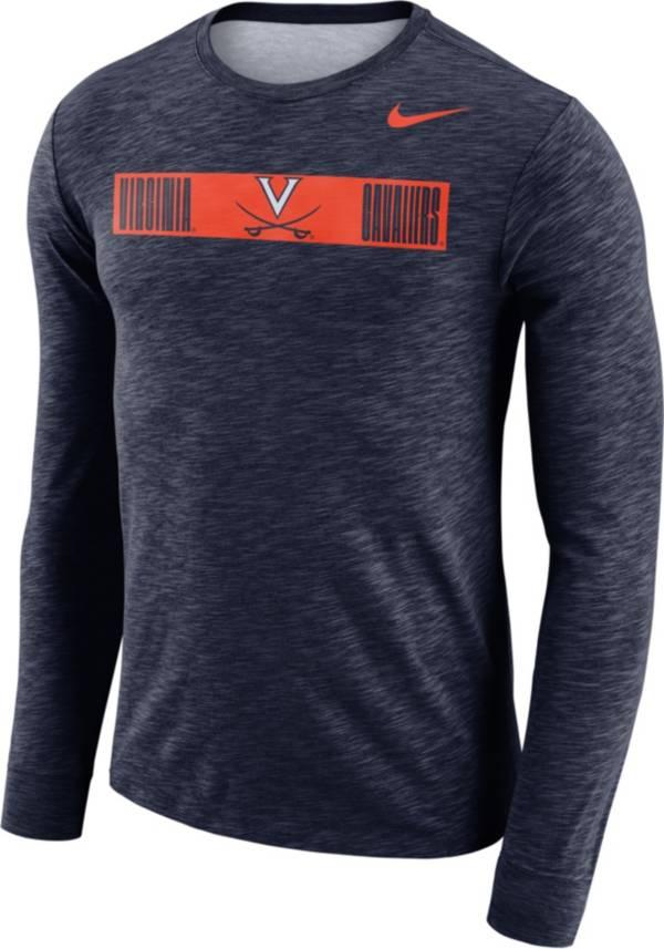 Nike Men's Virginia Cavaliers Blue Dri-FIT Cotton Slub Logo Long Sleeve T-Shirt product image