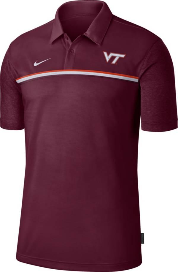 Nike Men's Virginia Tech Hokies Maroon Dri-FIT Football Sideline Polo product image