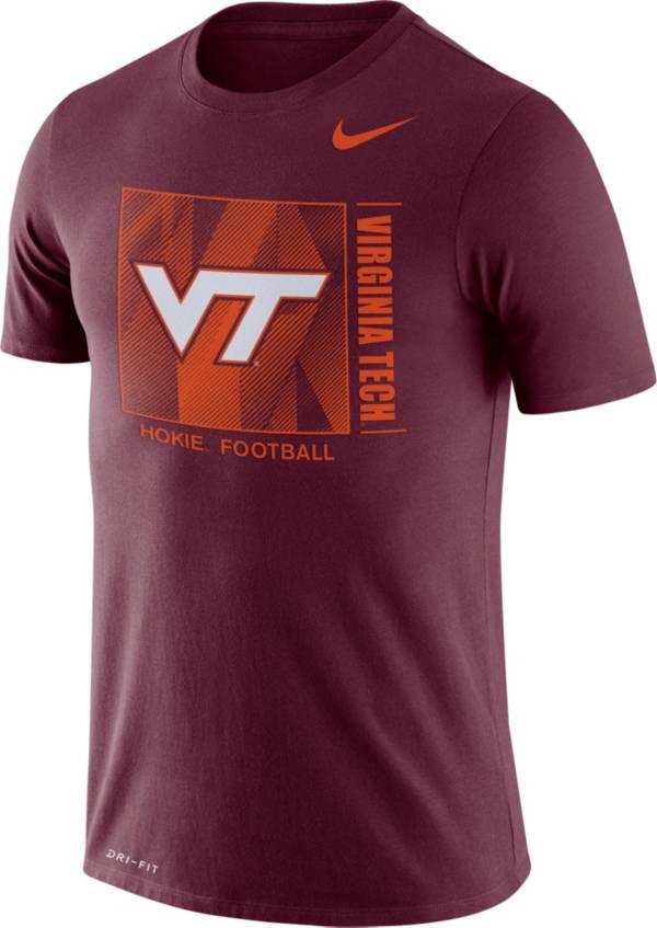 Nike Men's Virginia Tech Hokies Maroon Team Issue Logo Football T-Shirt product image