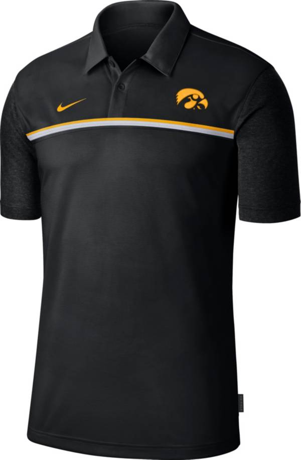 Nike Men's Iowa Hawkeyes Dri-FIT Football Sideline Black Polo product image