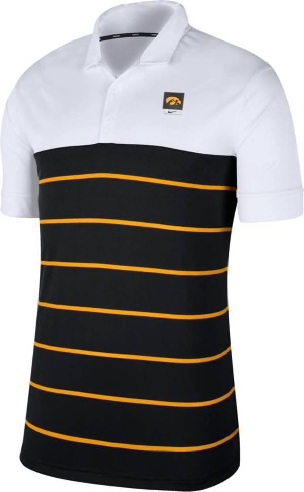 Nike Men's Iowa Hawkeyes White/Black Striped Polo product image